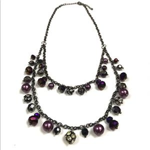 Gunmetal and Violet Layered Jewel Beaded Necklace